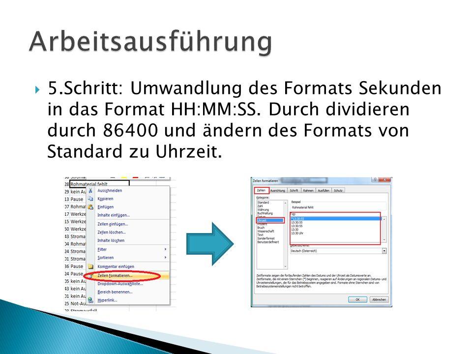 5.Schritt: Umwandlung des Formats Sekunden in das Format HH:MM:SS. Durch dividieren durch 86400 und ändern des Formats von Standard zu Uhrzeit.