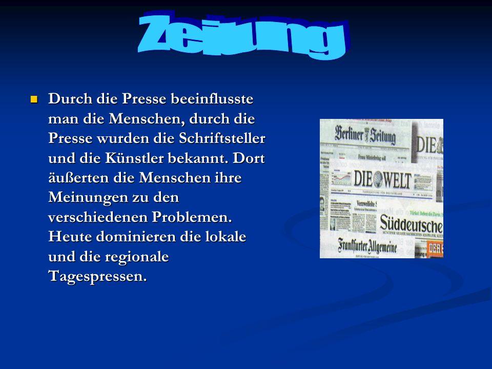 Die grossten Zeitungen sind die,,Westdeutsche Allgemeine Zeitung, die,,Frankfurter Allgemeine Zeitung, die,,Welt und so weiter.