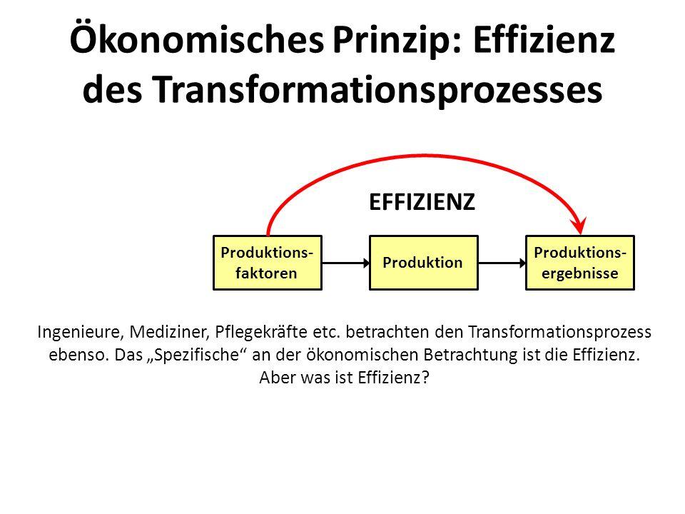 Ökonomisches Prinzip: Effizienz des Transformationsprozesses Produktion Produktions- ergebnisse Produktions- faktoren Unterneh- mensziele Effizienz bedeutet, dass die Unternehmensziele mit möglichst geringen Verbräuchen an Produktionsfaktoren erreicht werden bzw.