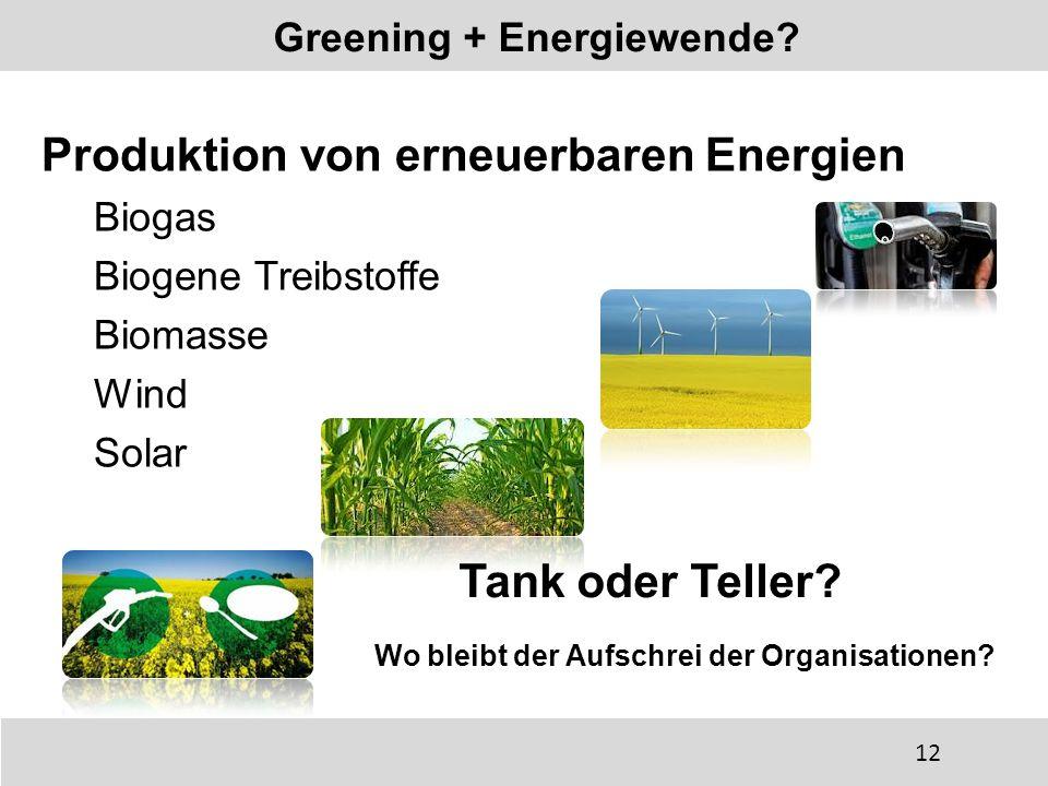 Produktion von erneuerbaren Energien Biogas Biogene Treibstoffe Biomasse Wind Solar Greening + Energiewende? Tank oder Teller? Wo bleibt der Aufschrei