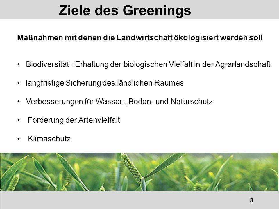 Biodiversität - Erhaltung der biologischen Vielfalt in der Agrarlandschaft langfristige Sicherung des ländlichen Raumes Verbesserungen für Wasser-, Boden- und Naturschutz Förderung der Artenvielfalt Klimaschutz Ziele des Greenings 3 Maßnahmen mit denen die Landwirtschaft ökologisiert werden soll