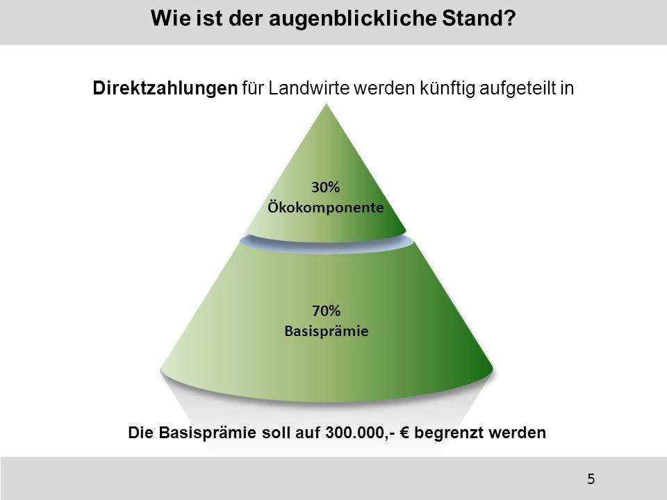 Wie ist der augenblickliche Stand? Direktzahlungen für Landwirte werden künftig aufgeteilt in 70% Basisprämie 70% Basisprämie 30% Ökokomponente 30% Ök