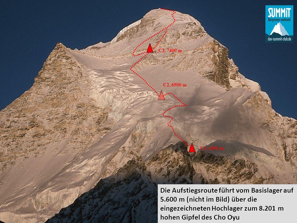 C2, 6900 m C1, 6200 m C3, 7400 m Die Aufstiegsroute führt vom Basislager auf 5.600 m (nicht im Bild) über die eingezeichneten Hochlager zum 8.201 m hohen Gipfel des Cho Oyu