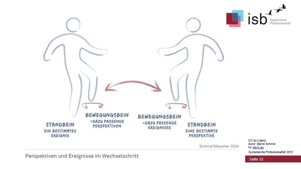 CC-by-Lizenz, Autor: Bernd Schmid für isb-w.euisb-w.eu Systemische Professionalität 2013 Seite 12 CC-by-Lizenz, Autor: Bernd Schmid für isb-w.euisb-w.eu Systemische Professionalität 2013