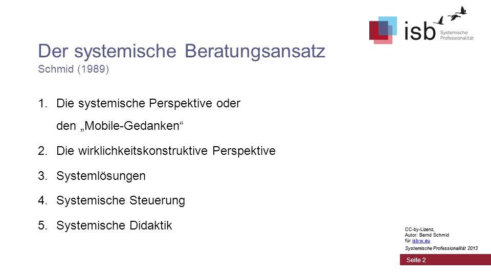 CC-by-Lizenz, Autor: Bernd Schmid für isb-w.euisb-w.eu Systemische Professionalität 2013 Seite 2 Der systemische Beratungsansatz Schmid (1989) 1.Die systemische Perspektive oder den Mobile-Gedanken 2.Die wirklichkeitskonstruktive Perspektive 3.Systemlösungen 4.Systemische Steuerung 5.Systemische Didaktik CC-by-Lizenz, Autor: Bernd Schmid für isb-w.euisb-w.eu Systemische Professionalität 2013