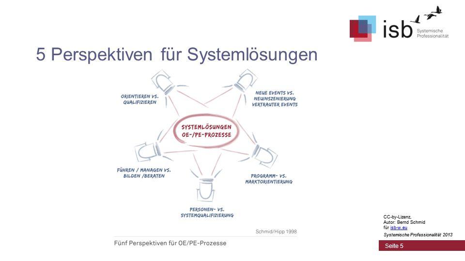 CC-by-Lizenz, Autor: Bernd Schmid für isb-w.euisb-w.eu Systemische Professionalität 2013 Seite 5 5 Perspektiven für Systemlösungen CC-by-Lizenz, Autor: Bernd Schmid für isb-w.euisb-w.eu Systemische Professionalität 2013