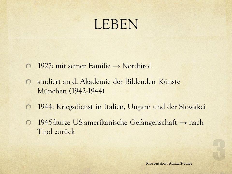 GRUNDDATEN * 29. Juni 1922 in Glurns, Südtirol 15. Mai in Innsbruck war ein österreichischer Zeichner, Karikaturist, Grafiker und Illustrator. 2 Prese