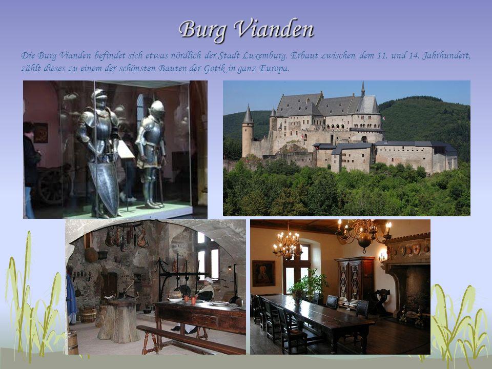 Burg Vianden Die Burg Vianden befindet sich etwas nördlich der Stadt Luxemburg. Erbaut zwischen dem 11. und 14. Jahrhundert, zählt dieses zu einem der