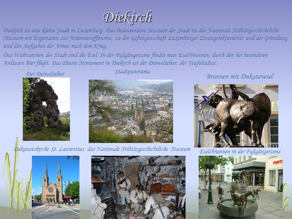 Diekirch Diekirch Diekirch ist eine kleine Stadt in Luxemburg. Das bedeutendste Museum der Stadt ist das Nationale Militärgeschichtliche Museum mit Ex