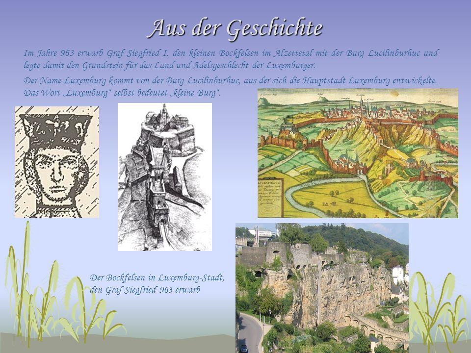 Aus der Geschichte Im Jahre 963 erwarb Graf Siegfried I. den kleinen Bockfelsen im Alzettetal mit der Burg Lucilinburhuc und legte damit den Grundstei