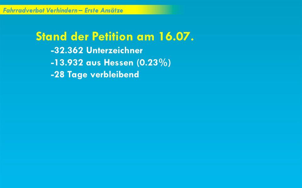 Fahrradverbot Verhindern – Erste Ansätze Stand der Petition am 16.07. -32.362 Unterzeichner -13.932 aus Hessen (0.23%) -28 Tage verbleibend