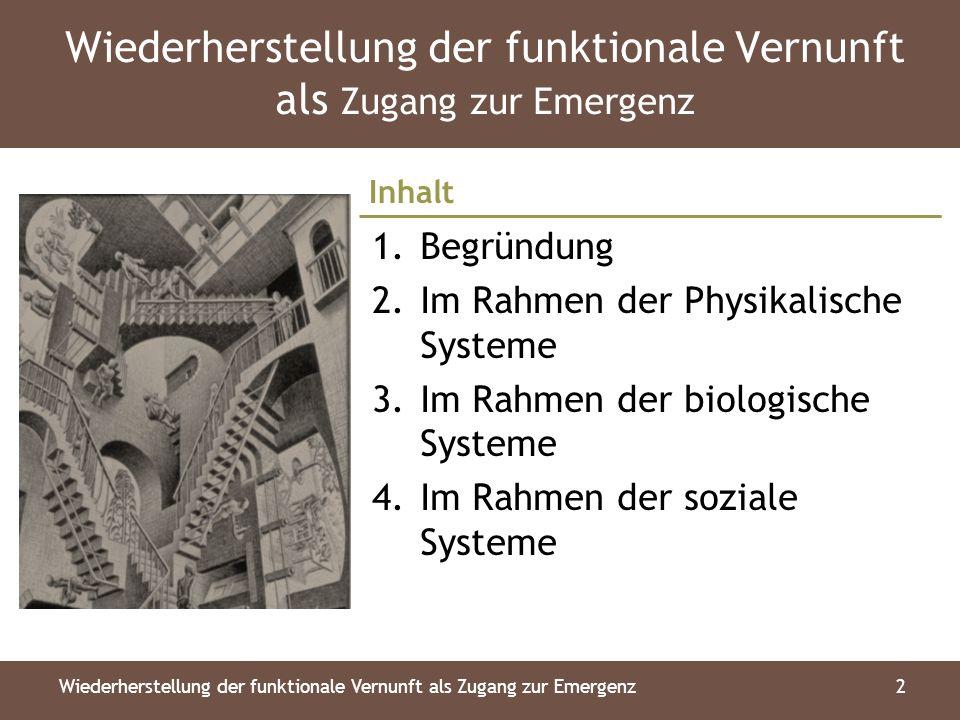 Inhalt Wiederherstellung der funktionale Vernunft als Zugang zur Emergenz2 1.Begründung 2.Im Rahmen der Physikalische Systeme 3.Im Rahmen der biologische Systeme 4.Im Rahmen der soziale Systeme