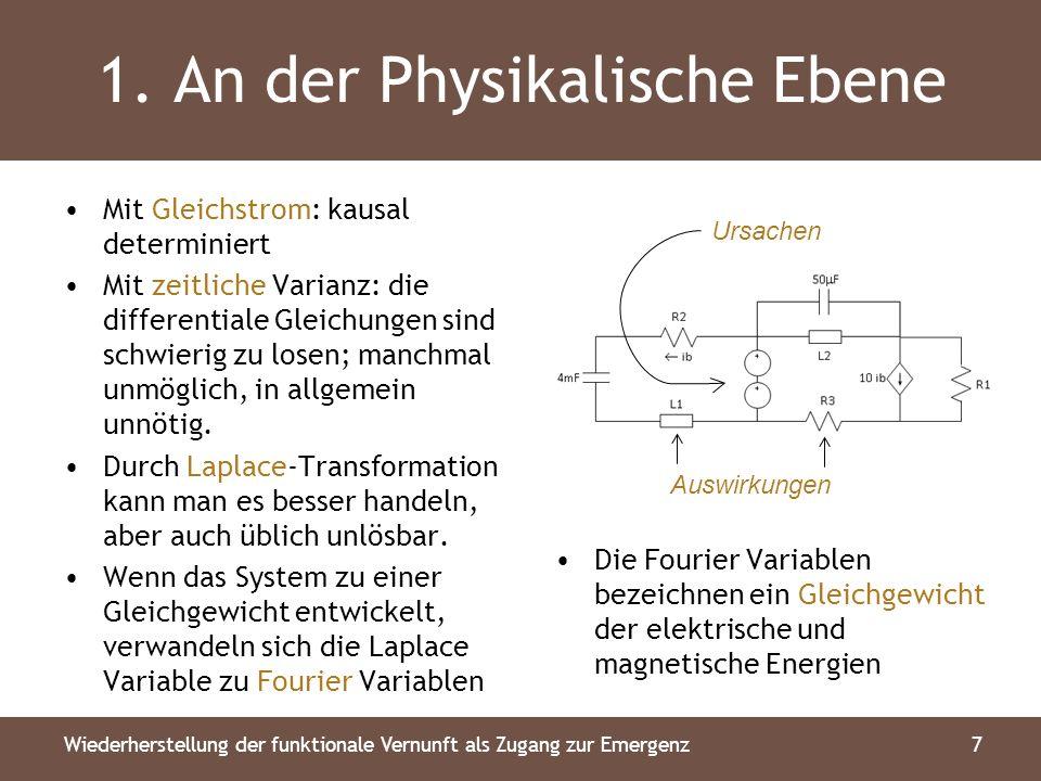 1. An der Physikalische Ebene Mit Gleichstrom: kausal determiniert Mit zeitliche Varianz: die differentiale Gleichungen sind schwierig zu losen; manch