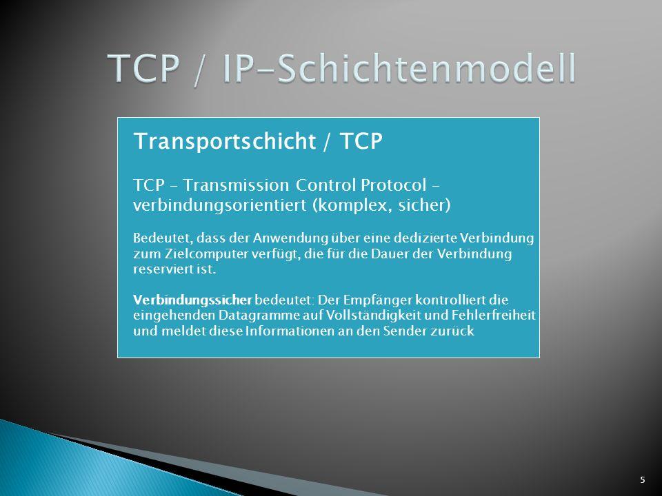 5 Transportschicht / TCP TCP – Transmission Control Protocol – verbindungsorientiert (komplex, sicher) Bedeutet, dass der Anwendung über eine dedizier