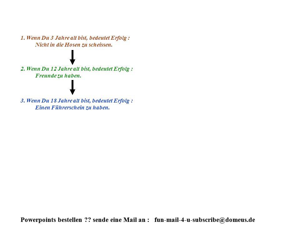 Powerpoints bestellen . sende eine Mail an : fun-mail-4-u-subscribe@domeus.de 1.