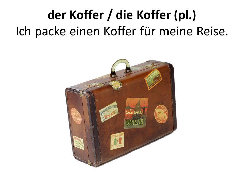 der Koffer / die Koffer (pl.) Ich packe einen Koffer für meine Reise.