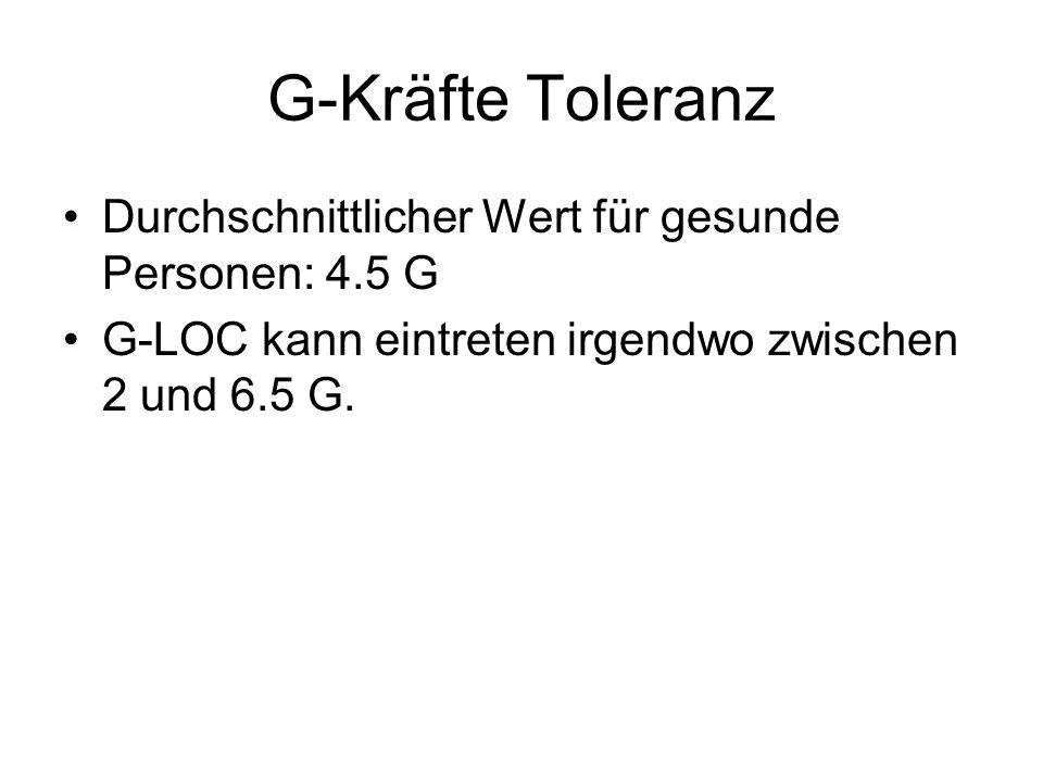 G-Kräfte Toleranz Durchschnittlicher Wert für gesunde Personen: 4.5 G G-LOC kann eintreten irgendwo zwischen 2 und 6.5 G.