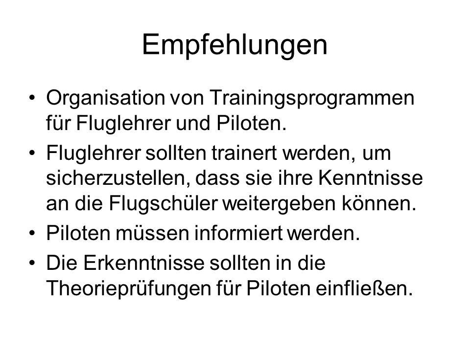 Empfehlungen Organisation von Trainingsprogrammen für Fluglehrer und Piloten. Fluglehrer sollten trainert werden, um sicherzustellen, dass sie ihre Ke