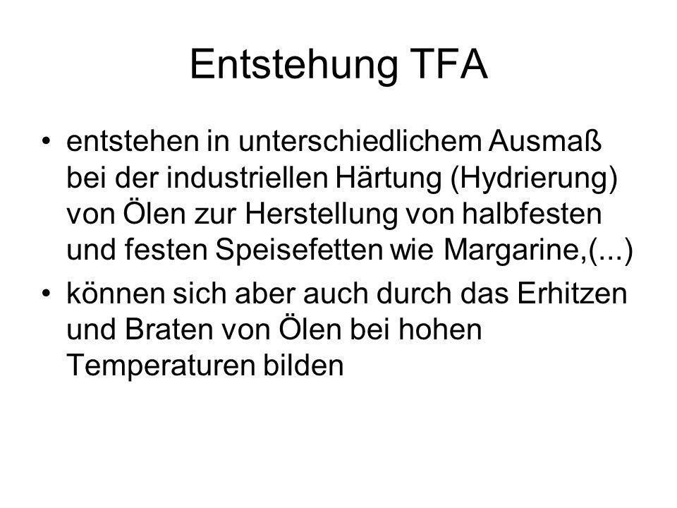 Entstehung TFA entstehen in unterschiedlichem Ausmaß bei der industriellen Härtung (Hydrierung) von Ölen zur Herstellung von halbfesten und festen Spe