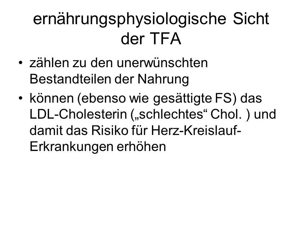 ernährungsphysiologische Sicht der TFA zählen zu den unerwünschten Bestandteilen der Nahrung können (ebenso wie gesättigte FS) das LDL-Cholesterin (sc