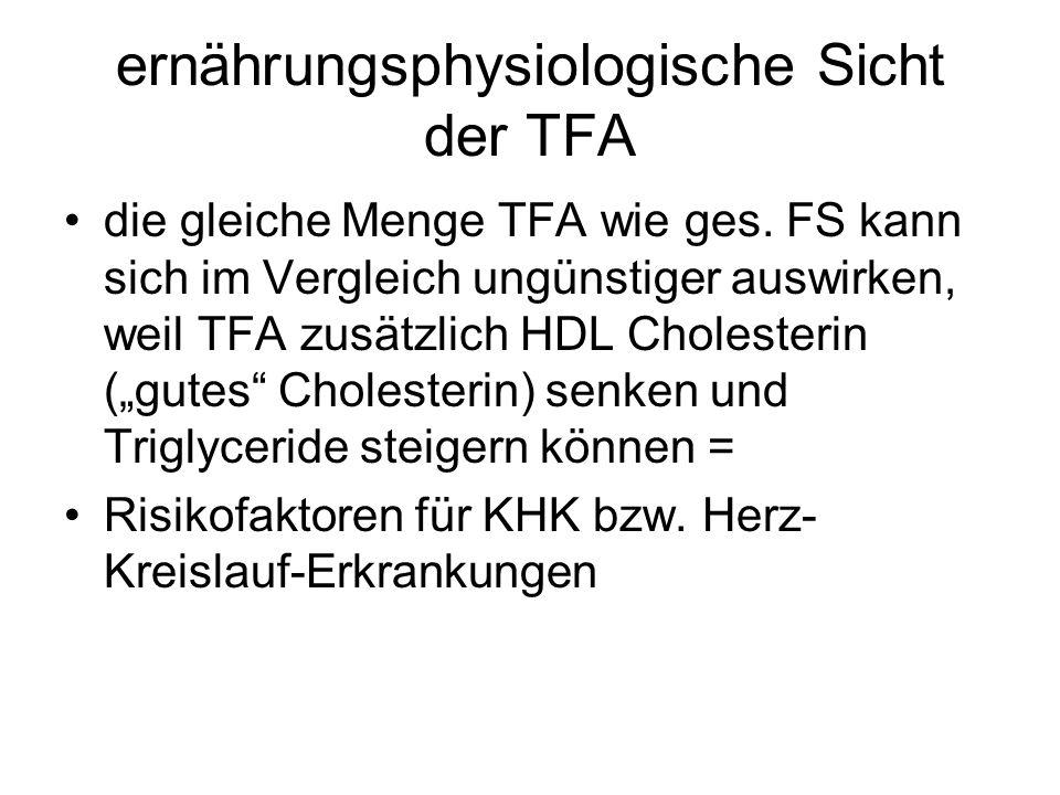 ernährungsphysiologische Sicht der TFA die gleiche Menge TFA wie ges. FS kann sich im Vergleich ungünstiger auswirken, weil TFA zusätzlich HDL Cholest