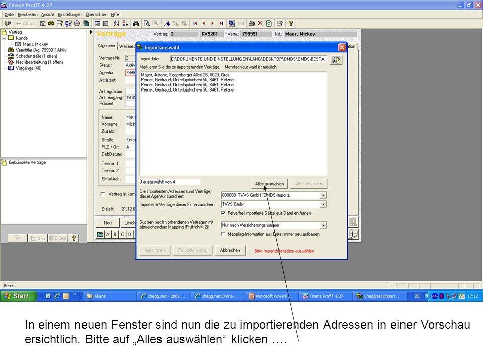 In einem neuen Fenster sind nun die zu importierenden Adressen in einer Vorschau ersichtlich.