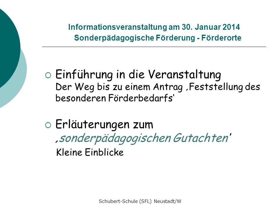 Informationsveranstaltung am 30. Januar 2014 Sonderpädagogische Förderung - Förderorte Einführung in die Veranstaltung Der Weg bis zu einem Antrag Fes
