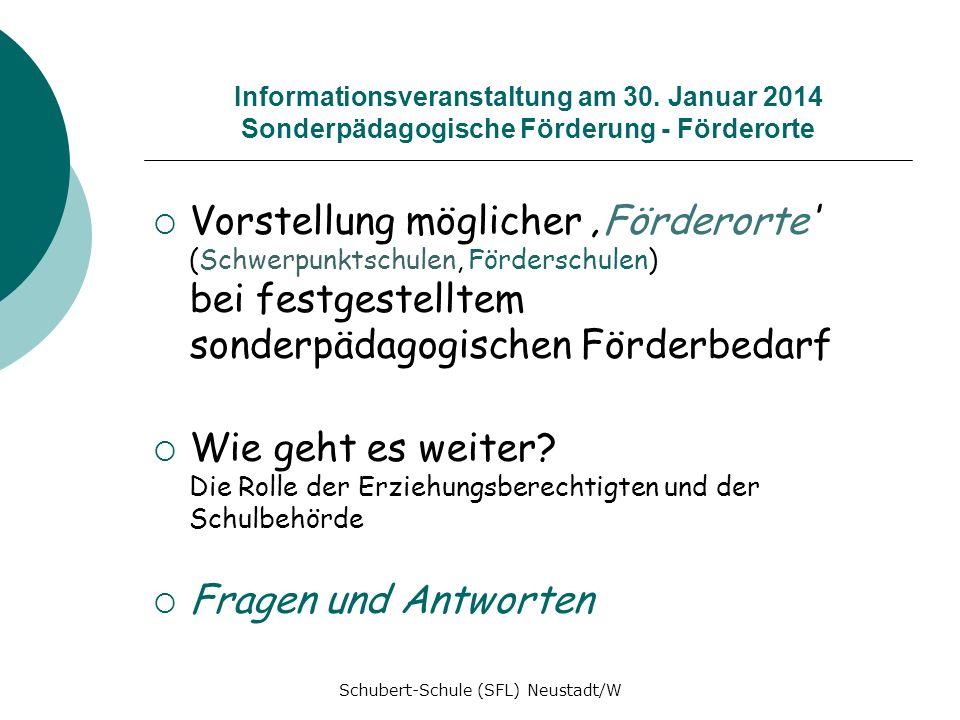 Informationsveranstaltung am 30. Januar 2014 Sonderpädagogische Förderung - Förderorte Vorstellung möglicher Förderorte (Schwerpunktschulen, Fördersch