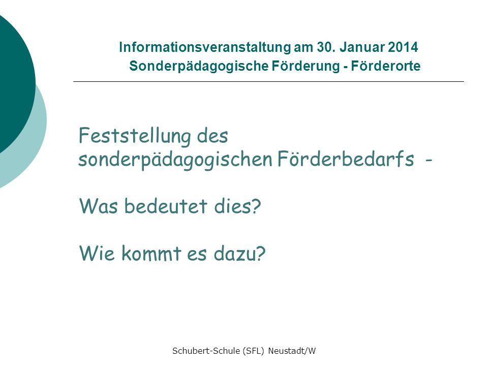 Informationsveranstaltung am 30. Januar 2014 Sonderpädagogische Förderung - Förderorte Feststellung des sonderpädagogischen Förderbedarfs - Was bedeut