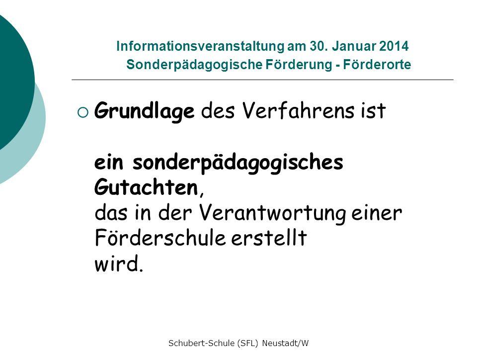 Informationsveranstaltung am 30. Januar 2014 Sonderpädagogische Förderung - Förderorte Grundlage des Verfahrens ist ein sonderpädagogisches Gutachten,