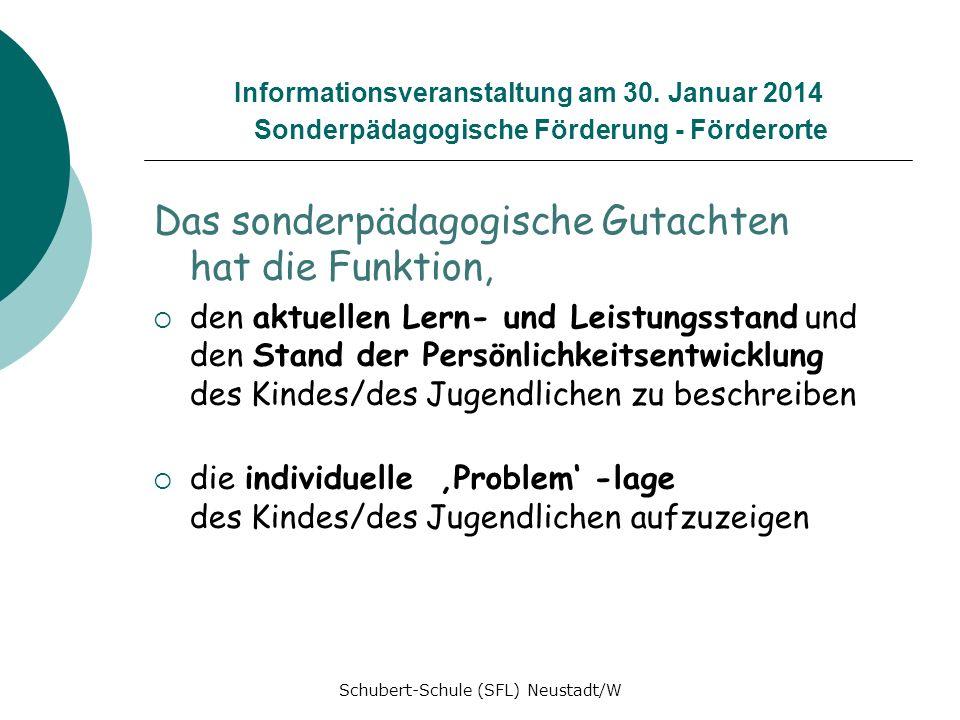 Informationsveranstaltung am 30. Januar 2014 Sonderpädagogische Förderung - Förderorte Das sonderpädagogische Gutachten hat die Funktion, den aktuelle