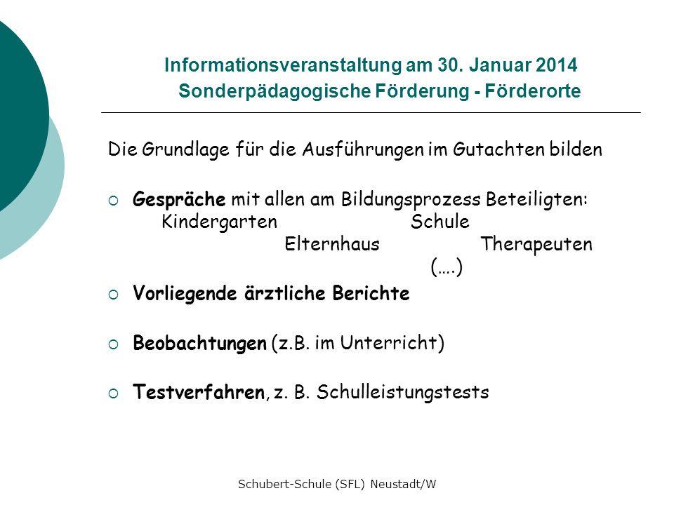Informationsveranstaltung am 30. Januar 2014 Sonderpädagogische Förderung - Förderorte Die Grundlage für die Ausführungen im Gutachten bilden Gespräch