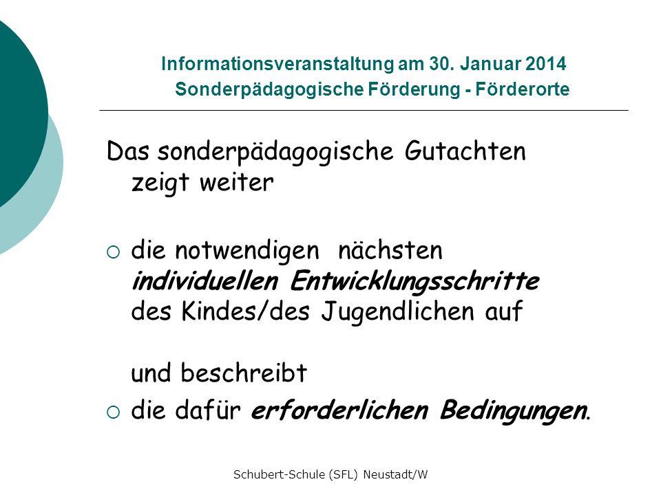 Informationsveranstaltung am 30. Januar 2014 Sonderpädagogische Förderung - Förderorte Das sonderpädagogische Gutachten zeigt weiter die notwendigen n