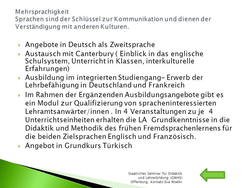 Angebote in Deutsch als Zweitsprache Austausch mit Canterbury ( Einblick in das englische Schulsystem, Unterricht in Klassen, interkulturelle Erfahrun