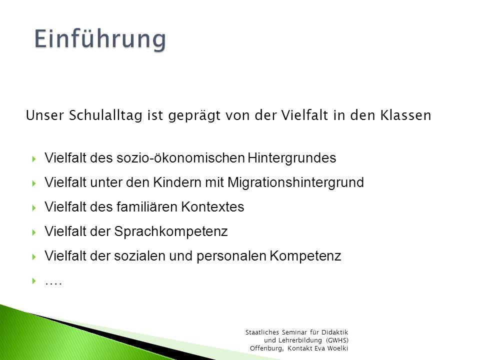 Faktoren des Schulerfolgs IGLU, 2003 Staatliches Seminar für Didaktik und Lehrerbildung (GWHS) Offenburg, Kontakt Eva Woelki