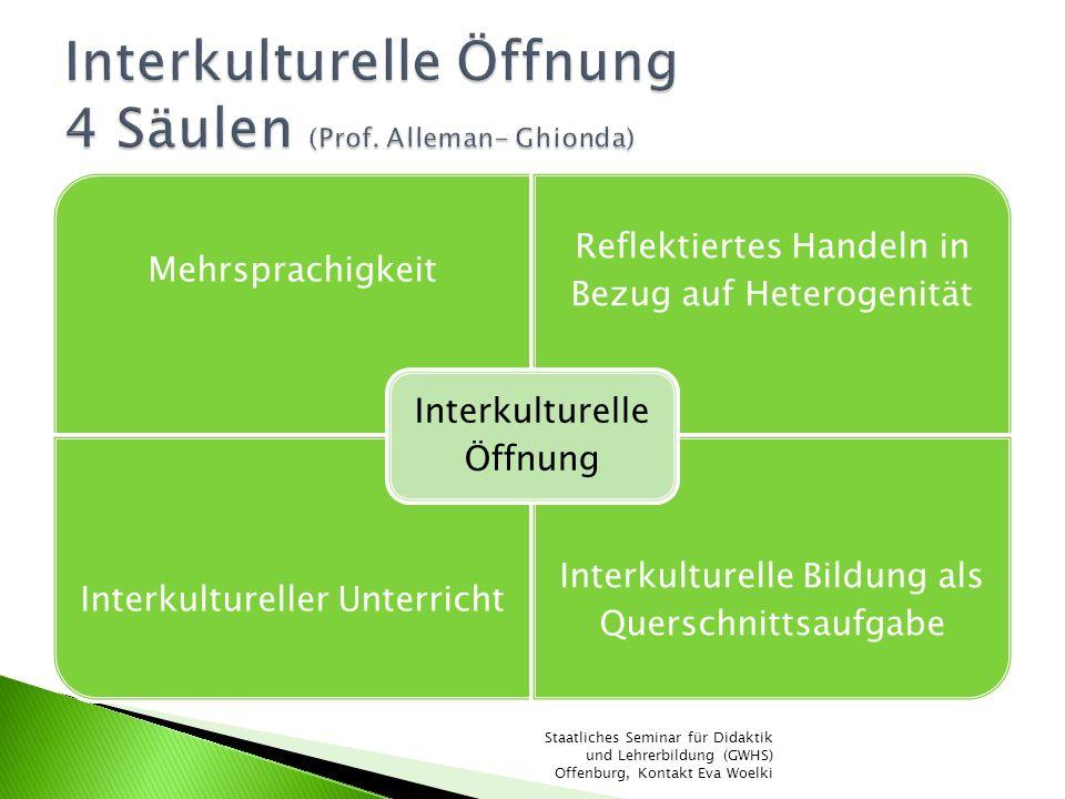 Mehrsprachigkeit Reflektiertes Handeln in Bezug auf Heterogenität Interkultureller Unterricht Interkulturelle Bildung als Querschnittsaufgabe Interkul