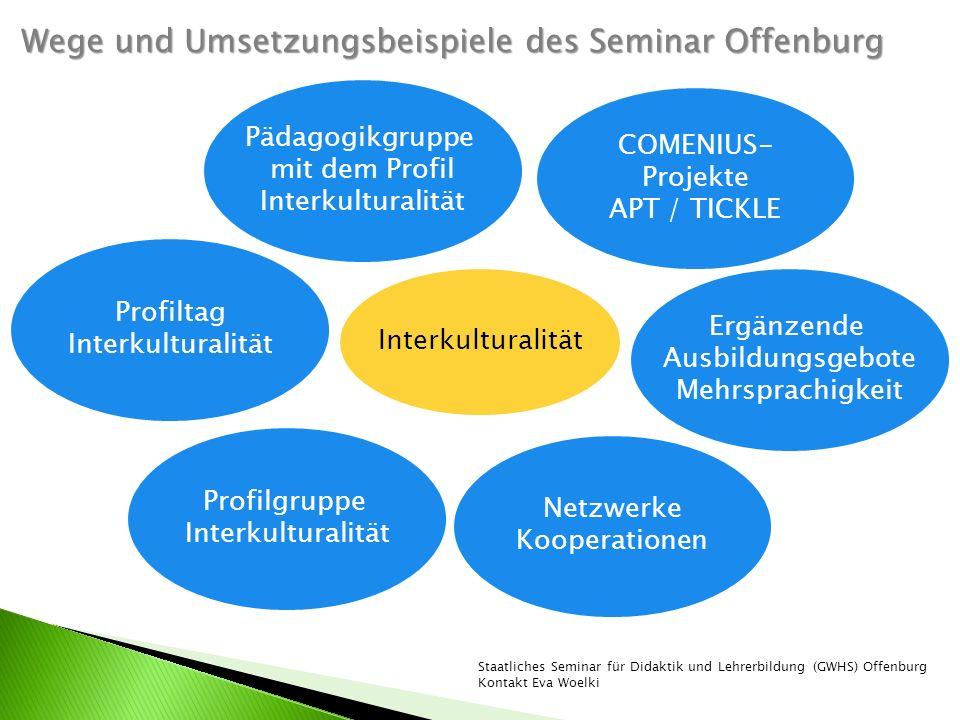 Interkulturalität Pädagogikgruppe mit dem Profil Interkulturalität COMENIUS- Projekte APT / TICKLE Netzwerke Kooperationen Ergänzende Ausbildungsgebot