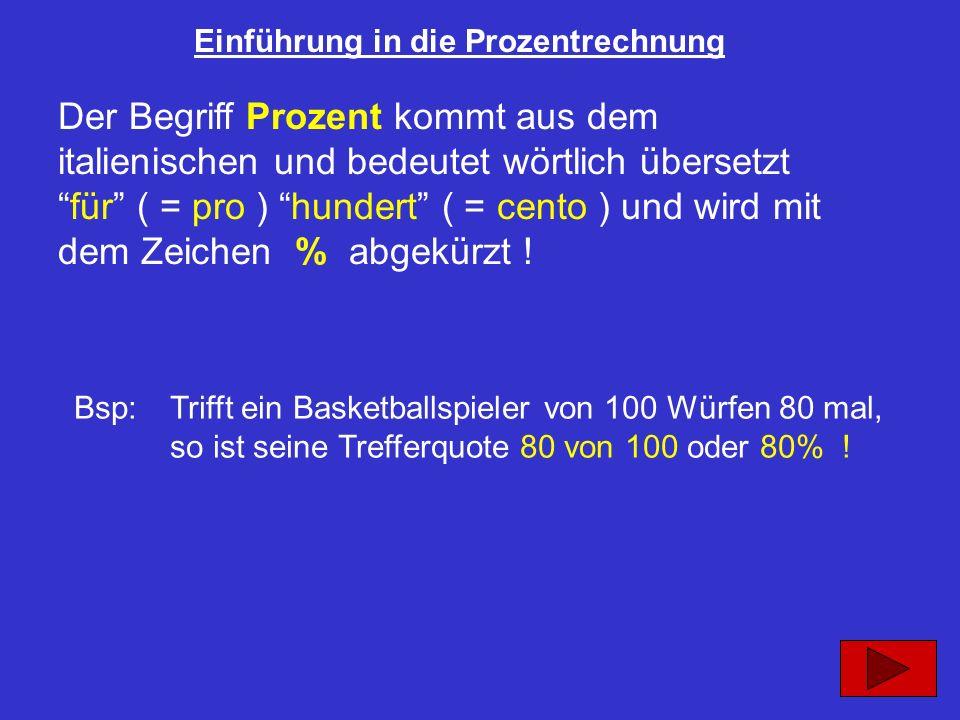 Einführung in die Prozentrechnung Der Begriff Prozent kommt aus dem italienischen und bedeutet wörtlich übersetztfür ( = pro ) hundert ( = cento ) und