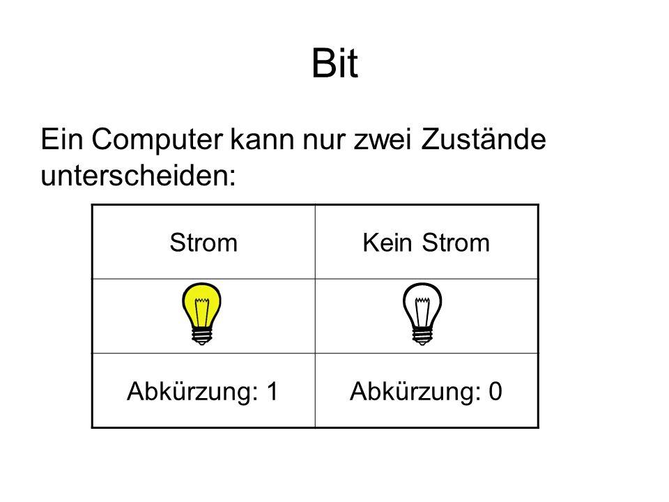 Bit Ein Computer kann nur zwei Zustände unterscheiden: Geräte, die nur zwei Zustände unterscheiden, sind binär.