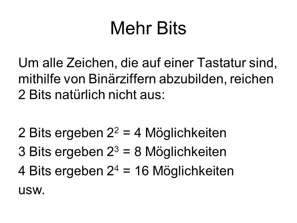 8 Bits 8 Bits ergeben 2 8 = 256 Möglichkeiten Mit 8 Bits sind 256 verschiedene Kombinationen möglich.