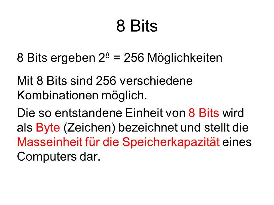 8 Bits = 1 Byte Einige Kombinationsmöglichkeiten: