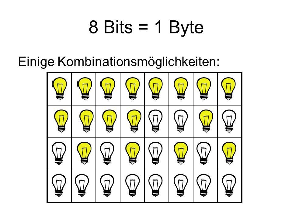 Byte Mit 8 Bits kann man 256 Zeichen darstellen: Jeder der 256 Möglichkeiten wurde nun ein Zeichen zugeordnet.