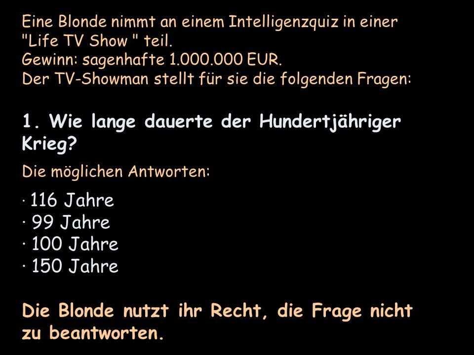 Eine Blonde nimmt an einem Intelligenzquiz in einer