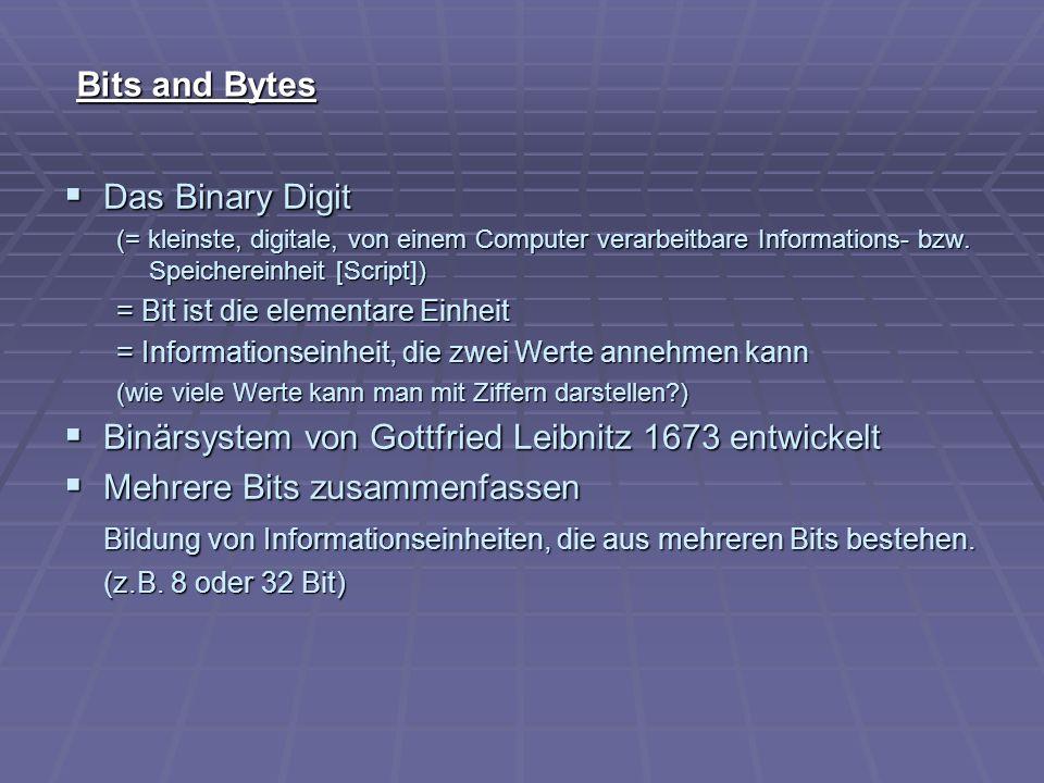 Bits and Bytes Das Binary Digit Das Binary Digit (= kleinste, digitale, von einem Computer verarbeitbare Informations- bzw. Speichereinheit [Script])