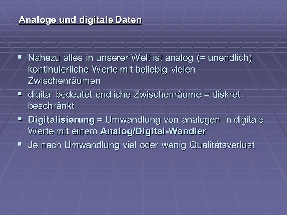 Analoge und digitale Daten Nahezu alles in unserer Welt ist analog (= unendlich) kontinuierliche Werte mit beliebig vielen Zwischenräumen Nahezu alles
