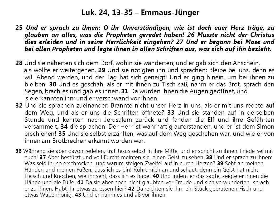 Luk. 24, 13-35 – Emmaus-Jünger 25 Und er sprach zu ihnen: O ihr Unverständigen, wie ist doch euer Herz träge, zu glauben an alles, was die Propheten g