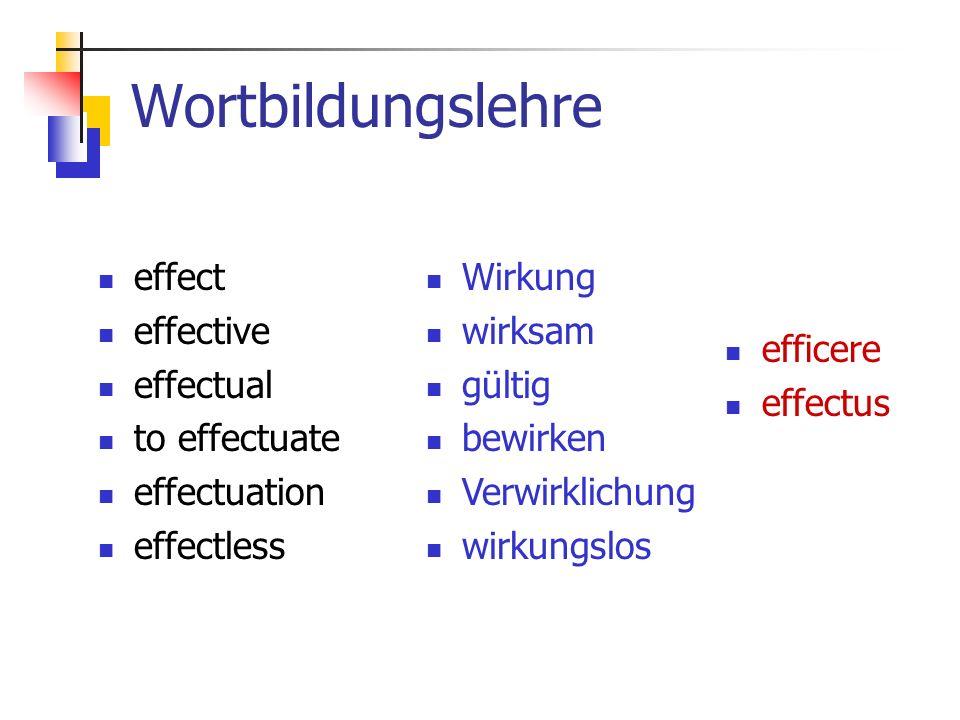 Wortbildungslehre effect effective effectual to effectuate effectuation effectless efficere effectus Wirkung wirksam gültig bewirken Verwirklichung wirkungslos