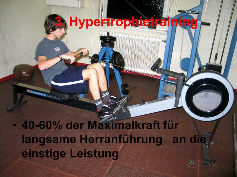 3. Hypertrophietraining 40-60% der Maximalkraft für langsame Herranführung an die einstige Leistung