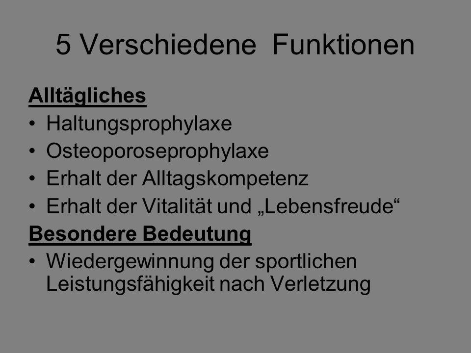 5 Verschiedene Funktionen Alltägliches Haltungsprophylaxe Osteoporoseprophylaxe Erhalt der Alltagskompetenz Erhalt der Vitalität und Lebensfreude Beso