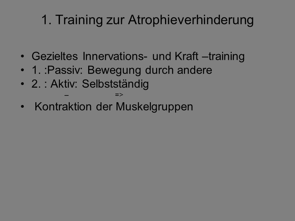1. Training zur Atrophieverhinderung Gezieltes Innervations- und Kraft –training 1. :Passiv: Bewegung durch andere 2. : Aktiv: Selbstständig – => Kont